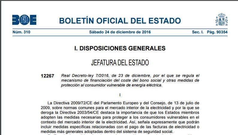 Real Decreto-ley 7/2016, de 23 de diciembre, sobre financiación del bono social